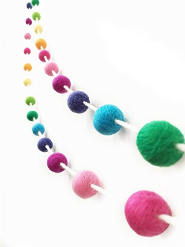 Misscrafts Felt Ball Garland 9.8 Feet 100% Wool Roving Pom Pom Garland 35 Balls 20mm Colorful for Baby Shower Grand Opening Party Festivals Room Decorations
