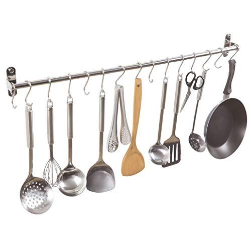 Alicemall Colgador de Utensilios de Cocina de 15 Ganchos de Acero Indoxible Barra para Cocina con Ganchos S
