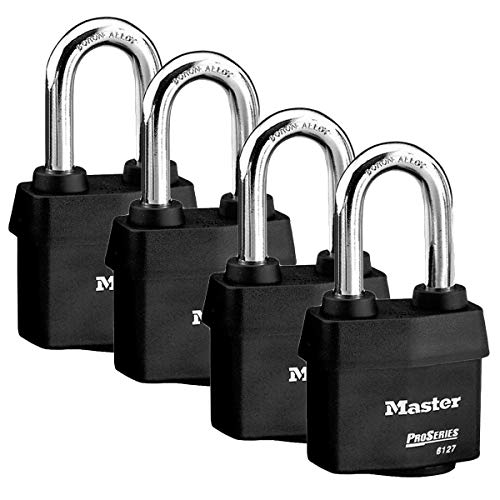Master Lock 6127NKALH High Security Pro Series Vorhängeschlösser mit BumpStop Technologie 4 Pack