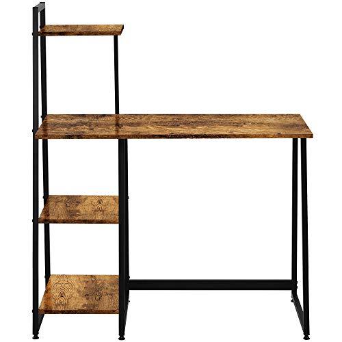 Escritorio, mesa de ordenador, mesa de oficina, mesa de trabajo, con estante, para oficina, salón, escuela (marrón)