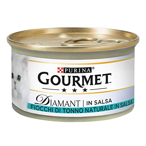 PURINA GOURMET DIAMANT Lot de 24 boîtes de 85 g de 85 g pour Chat, Feuilles de Thon au Naturel en Sauce.