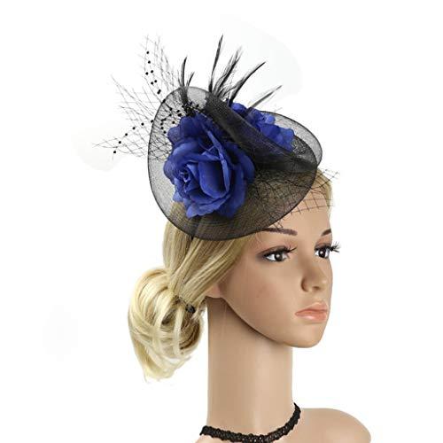HQQ Coiffe De Plumes Européenne Mariée Tête Fleur Mesh Accessoires De Cheveux Parti Fil De Chanvre Coiffe Parti Dames Top Hat (Color : Blue)