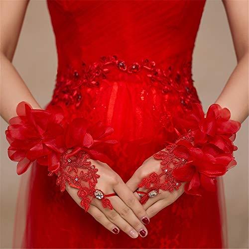 Zyangg-Festival Hochzeit Handschuhe Brautkleider Handschuhe Kurze Hübe Dolden rote und weiße Brauthandschuhe Damen Handschuhe Hochzeit Abend (Color : Red)