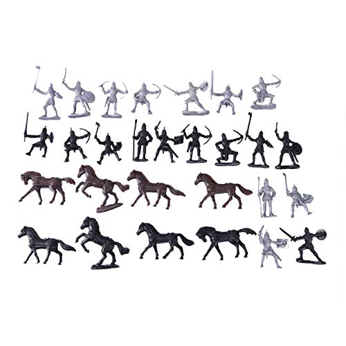 LUOEM 28 Pcs Knights Warrior Horses Medieval Toy Soldiers Figures Playset Mini Model Toys Gift Decor
