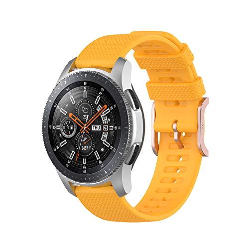 Correa de repuesto de 22 mm de ancho compatible con Samsung Galaxy Watch3 (45 mm) / Galaxy Watch (46 mm) / Huawei Watch GT 2e Smart Watch, silicona (amarillo)