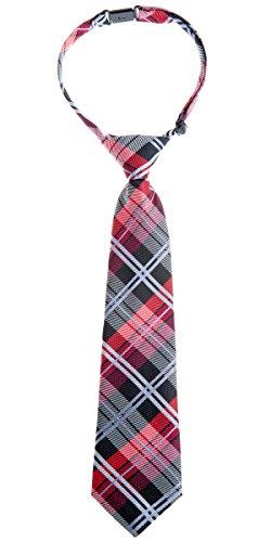 Retreez elegante Tejido tartán de cuadros escoceses PRE-TIED de microfibra Boy 's Tie - negro -
