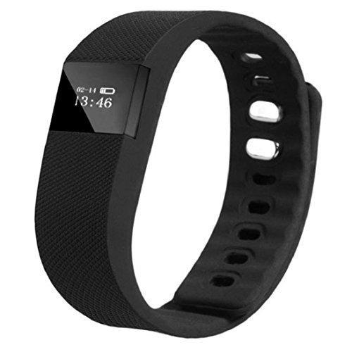 TW64 Smart Handgelenk Band Schlaf Fitness Tracker Pedometer Sport Armband Unterstützung iPhone 4s 5 5c 5s und IOS 6.1or über Android System 4.3 oder höher (Bluetooth 4.0) Black