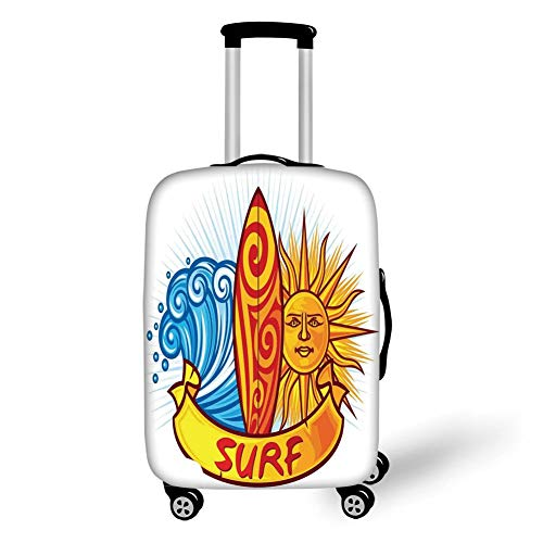 Travel Luggage Cover Suitcase Protector,Surf,Surf Design Sun and Ocean Waves Polynesian Culture Natural Sports Graffiti Print,Orange Blue Red,for TravelL 25.9x37.8Inch