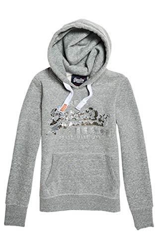 Superdry Damen Vintage Logo Sequin Entry Hood Kapuzenpullover, Grau (Grey Heather Wx2), M (Herstellergröße:12)