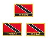 3 Stück Trinidad-Tobago bestickte Flaggen-Emblem-Applikation zum Aufbügeln oder Aufnähen.
