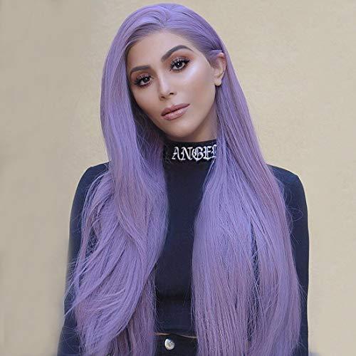 WhaleGate 26 inches Long Straight Purple Wigs for Women Synthetic Wigs Middle Part Heat Resistant Replacement Wig Colorful Cosplay Daily Party Wig (Purple Wig)