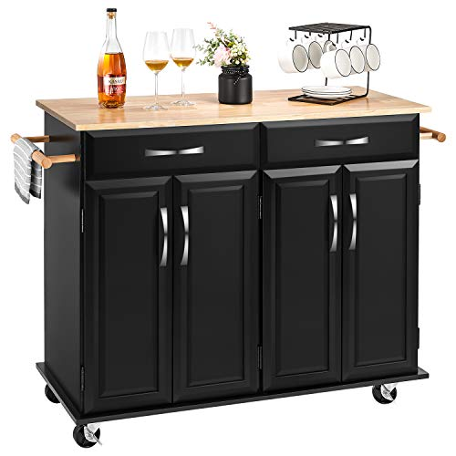 kealive Kitchen Island on Wheels Rolling Kitchen Island Cart with Storage, Lockable Wheels, Handle Rack Rubber Wood Top, Cabinet, Classic Black 48.2L x 18.5W x 35.4H