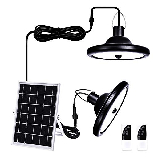 Solar Lights Outdoor Indoor,HUOKU LED Solar Pendant Light Motion Sensor with Remote Control,IP65 Waterproof,Solar Shed Light with Double Head for Shed,Yard,Patio,Barn,Garage,3000K
