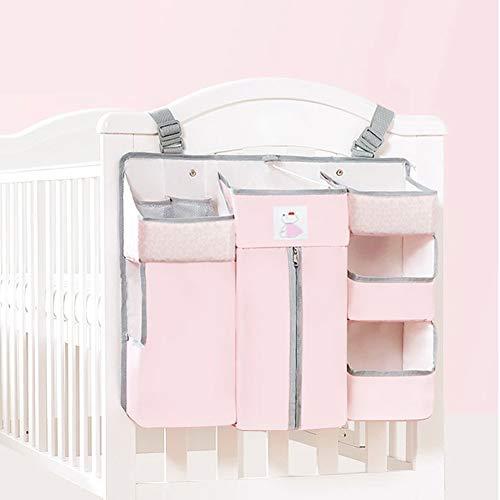 Hängender Organizer Kinderzimmer, Sunzit Babybett Tasche Hängende Aufbewahrungstasche Windel Spielzeug Kleidung Betttasche Kinderwagen Buggy Dekor - Rosa