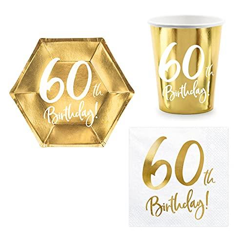 Set 44 pezzi - Kit Coordinato tavola 60 Anni - Colore Oro Lucido - Cinquantesimo Compleanno - decoro buffet feste - 12 piatti + 12 Bicchieri + 20 tovaglioli