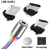Câble USB Type C Chargeur magnétique avec Lumière Del Visible Multicolore, Chargeur Micro USB C Cordon Câbles de Charge Lumineux Cordons Connecteurs 3 en 1 (Aucun Transfert de Données)