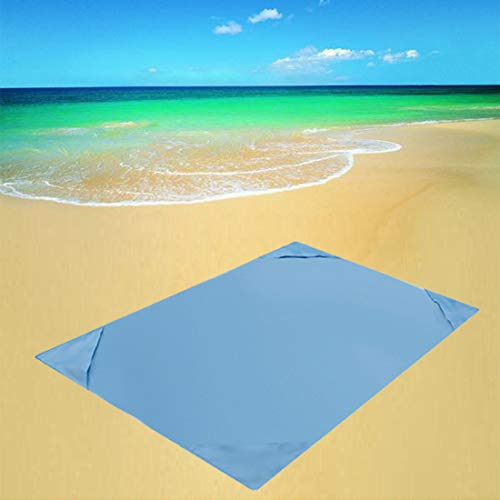 Sand Proof Waterproof Beach Blanket, Large Portable Picnic Outdoor Mat Folding Blanket with 4 Stakes&4 Corner Pockets for Travel
