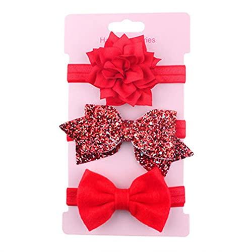 YLWL 3 stücke Mädchen Stirnband Set Bogen Knoten Kopfbandage Kinder Kleinkinder Kopfbedeckungen Blume Haarband Säuglingskleidung Zubehör