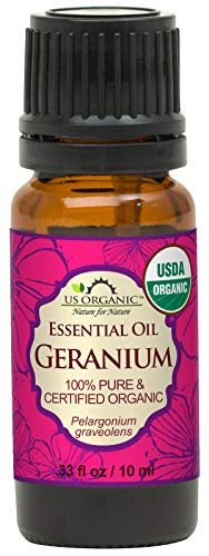 US Organic 100% Pure Geranium Essential Oil - USDA Certified Organic, Steam Distilled - W/Euro droppers (More Size Variations Available) (10 ml / .33 fl oz)