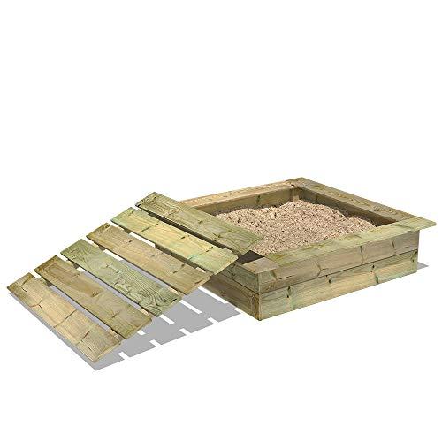 WICKEY Sandkasten Holz Sandkiste King Kong 120x120 cm mit Deckel