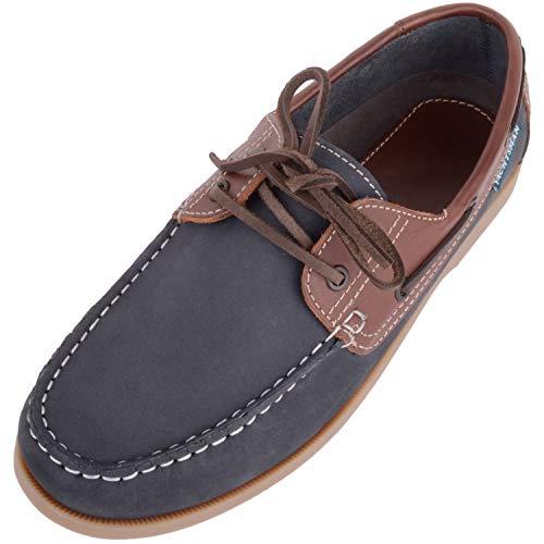 Absolute Footwear Herren Echtleder-Bootsschuhe mit Schnürverschluss, Blau - navy - Größe: 44 EU