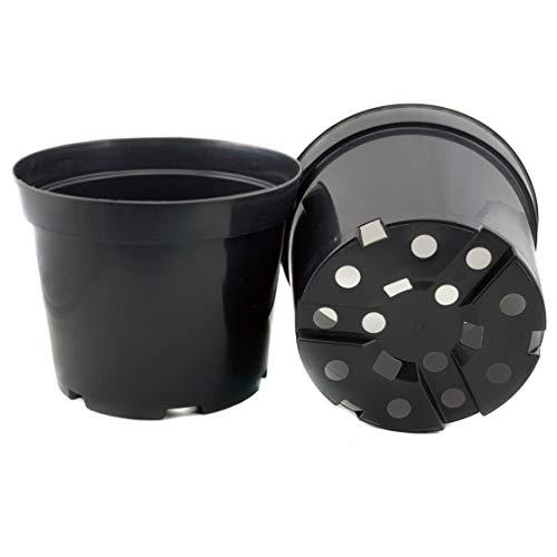 Pan 1 x robuuste bloempot 5-L rond D: 22-cm x H: 13-cm 5-liter hoogwaardige PP kunststof ideaal voor binnen en buiten bloemen grote planten plantenbak bak bak plant pot cilinder