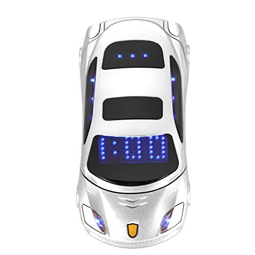 Student Flip Phone for Ferrari Car-Shape Phone Flip Keypad Car Model Mobile Phone GSM Cell Phone 100-240V, Support SMS, MP3, Camera, Video Playback, Recording, Radio, Bluetooth, Calculator(White)