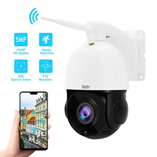 5MP PTZ WiFi Camera 20X Optical Zoom High Speed Outdoor IP Camera Built-in SD Card Slot IP66 Waterproof for Security Surveillance