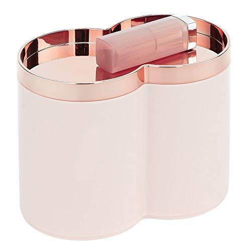 mDesign Caja organizadora de plástico – Tarros de plástico ideales como dispensador de discos de algodón o bastoncillos – Cajas apilables con práctica tapa – rosa/dorado rosado