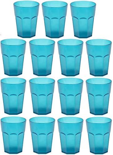 Design 15x Kunststoffbecher Becher Plastikbecher Trink-Gläser Mehrweg Fassungsvermögen 0,25l in der Farbe Türkis/Stapelbar