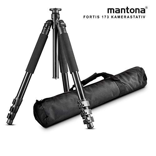 Mantona Basic Fortis 173T Fotostativ – großes, professionelles Aluminium Dreibein Kamera Stativ ohne Kugelkopf, Höhe 34 bis 173 cm, Traglast 15 kg, Gewicht 2,23 kg, groß stabil funktional, mit Tasche