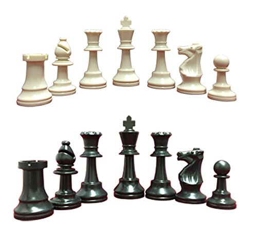 Heavy, Triple Weighted, School, Club, Tournament Chess Set, Black/White - 34 Chess Pieces (2 Extra Queens), 3.75