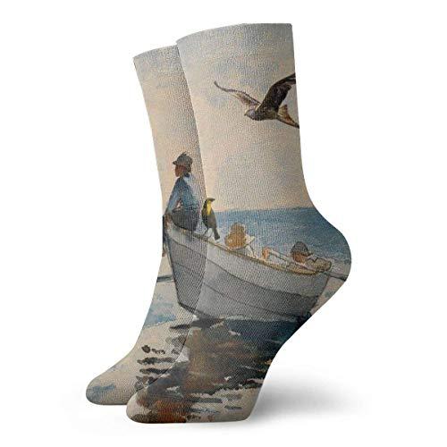 Kevin-Shop Chaussettes pour Hommes Pack Pack Seaside Kids Fishing Boat et Eagle Turtle Bird Funny Polyester Crew Socks