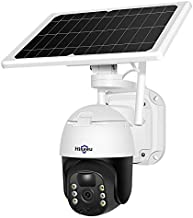 【Solar Battery Powered】 Hiseeu Home Security Camera Outdoor Wireless, PTZ Pan Tilt 330° View Spotlight Rechargeable Camera with PIR/Motion Detection, Color Night Vision, 2-Way Audio, Cloud/ SD Record