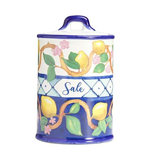 Barattolo da Cucina in Ceramica Colorata Bianca e Blu Linea Limoni da Cucina Sale 10X10X16cm