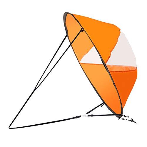 Hainice Kayak Vela Pieghevole Vento Sail Fold-Able Sottovento della Vela Sottovento Vento Sail Installazione Accessori per Gonfiabili per Kayak, Canoe, Barche Gonfiabili, Bordo di Pala Arancione