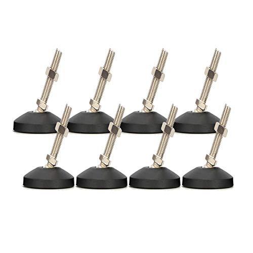 Drenky 8 piezas Ángulo ajustable M8 x 30 Nivelador de muebles patas niveladoras deslizantes para muebles de servicio pesado con rosca externa con tuercas en T y tuercas, base de goma antideslizante