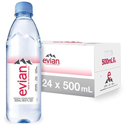 evian Natural Spring Water , Naturally Filtered Spring Water in Individual-Sized Plastic Bottles 16.9 Fl Oz (Pack of 24)