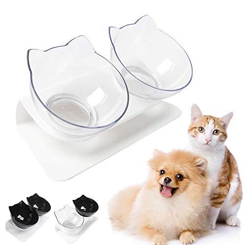 Futternäpfe Katzenfutter,15 ° Kippbare katzennäpfe Doppelter Futternäpfe Katzenfutter Transparente Katzenfutterschale Futternapf Katze Katzennäpfe für Katze Welpe Futter und Wasser