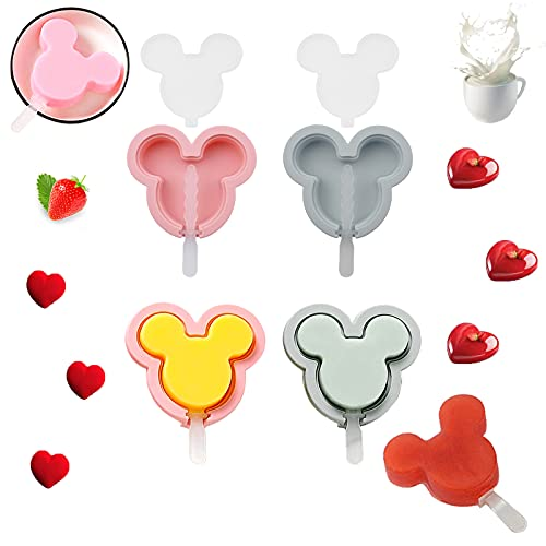 4 Pieces Popsicle Molds for Kids, Mickey Head Cakesicles Silicone Mold, Silicone Popsicle Molds with Lids and Sticks, Animal Shape Popsicle Maker Cake Pop Mold, Ice Cream Mold Jello Molds for Kids