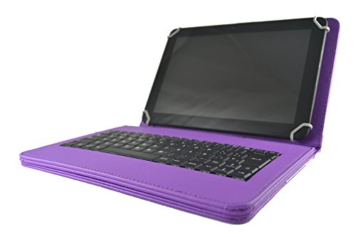 Theoutlettablet® Schutzhülle mit Abnehmbarer Tastatur in Spanisch (inkl. Buchstabe Ñ) für Tablet Toshiba Excite At10 10.1 – Violett