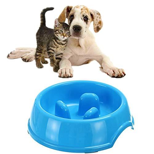 chunnron Antischlingnapf Hunde Hundenapf Welpenfutter Wet Bowl Interaktive Hundefutterautomaten Slow Feeder Fressnapf rutschfeste Schüssel Blue