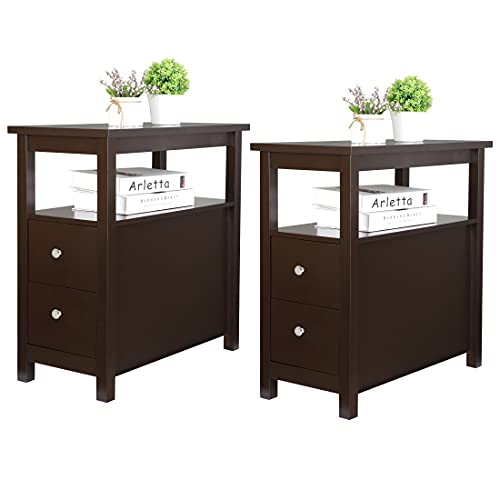 HomGarden Side End Table Set of 2 Multifunctional Narrow Nightstand Chairside End Table for Living Room