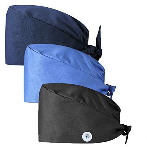 CHUANGLI 3Pcs Gourd-Shaped Working Caps with Upgrade Sweatband Adjustable Bouffant Hats Headwear - Women/Men (A02# Black Navy Blue)