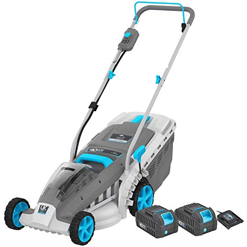swift EB137CD22 40V Cordless Lawn Mower, 37cm Cutting Width Lightweight Battery Rotary Mower with 30 Litre Grass Box, Central Height Adjust & Foldable Handles (Dual Battery & 1 x Charger Included)