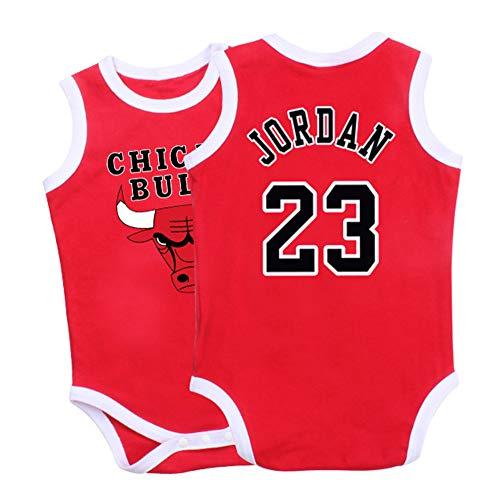 Jordrn Bulls # 23 Basketball Trikots Bodysuits Fans Ärmelloser Overall Playsuit Strampler für Boy Girl-red-66(cm)