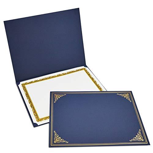 12-Pack Certificate Holder, Diploma, Document Cover for Letter-Sized Award Certificates, Navy Blue, Gold Foil Border