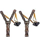 POPLAY Wooden Slingshot Bow Catapult Bamboo Sling Shot Toys,2 Pack