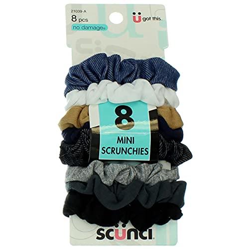 Scunci Effortless Beauty Mini Scrunchies No-damage Assorted Denim-Colors Elastics 8 Count, Ponytailers