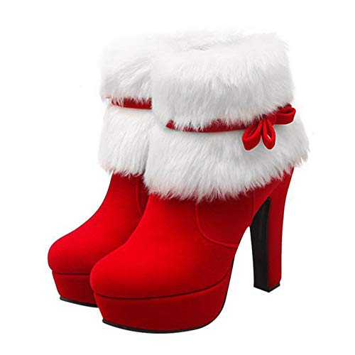LIDABAO Festive Heels - Botas de invierno de ante con tacón alto, con plataforma, de felpa y lazo lateral con cremallera para mujer
